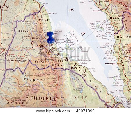 the hague Netherlands-august 10 2016: Map of Eritrea with pushpin illustrative editorial