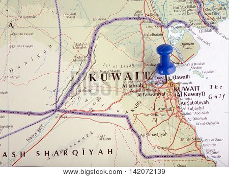 the hague Netherlands-august 10 2016: Map of Kuwait with pushpin illustrative editorial