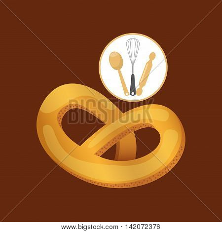 rolling pin, whisk and ladle , fresh bakery products, vector illustration