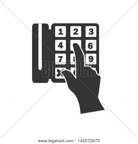 phone calling pushing number handset hand electronic technology devices vector graphic isolated and flat illustration