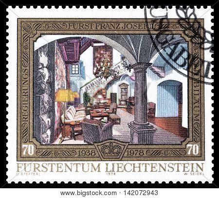 LIECHTENSTEIN - CIRCA 1978 : Cancelled postage stamp printed by Liechtenstein, that shows Inside of house.