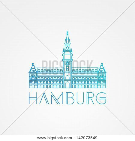 Hamburg City Hall Germany. Front view. Vector one line minimalist icon of German.