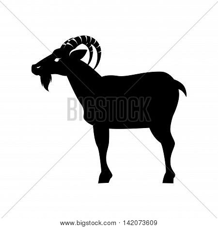 goat ram face capricorn zodiac animal silhouette side eye vector graphic isolated and flat illustration