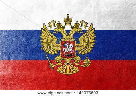 Flag Of Russia With Coat Of Arms, Painted On Leather Texture