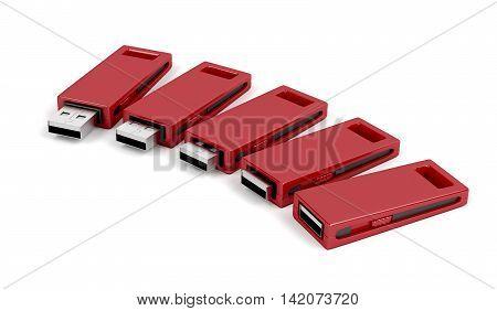 Slide usb flash drives on white background, 3D illustration