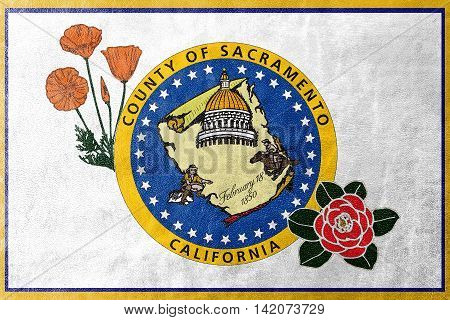Flag Of Sacramento County, California, Usa, Painted On Leather Texture