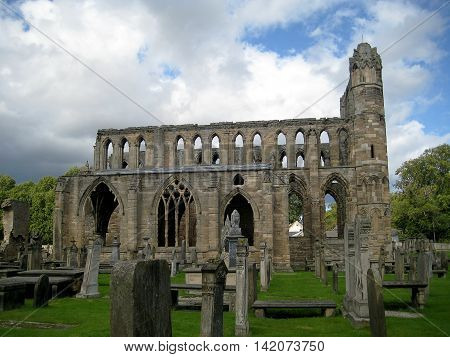 Cathedral of Elgin general view from the side (Scotland, UK)