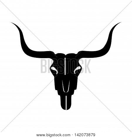bull skull rodeo animal skeleton texas west ranch vector graphic isolated and flat illustration
