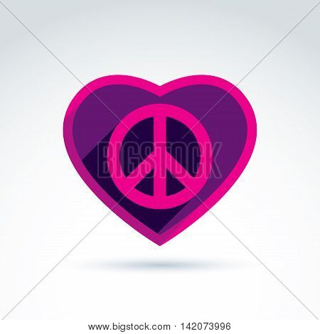 Peace and love theme, loving heart sign with peace symbol from 60th.