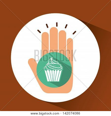 holding muffin, fresh bakery products, vector illustration
