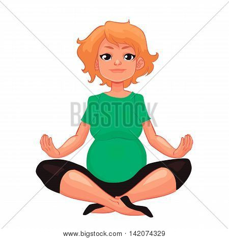 beautiful pregnant woman in various poses of yoga, cartoon style vector illustration isolated on white background. Beautiful pregnant woman doing yoga, , healthy lifestyle