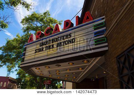Wellsboro PA - July 26 2016: The Arcadia Movie Theater arcade on the Main Street of Wellsboro in Tioga County Pennsylvania