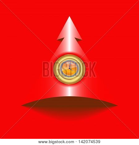 Vector illustration of sign,labels in the form of a circle with a clock face and an arrow pointing up direction,