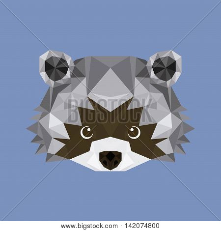 raccoon low poly animal, vector illustration eps10