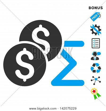 Coin Summary icon with bonus pictograms. Vector illustration style is flat iconic bicolor symbols, blue and gray colors, white background, rounded angles.