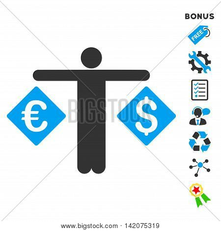 Currency Trader icon with bonus pictograms. Vector illustration style is flat iconic bicolor symbols, blue and gray colors, white background, rounded angles.