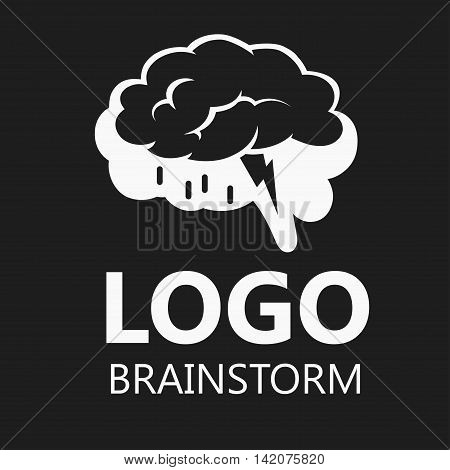 Brain Logo silhouette design vector template. Brainstorm think idea. Vector Illustration. Logotype concept icon.