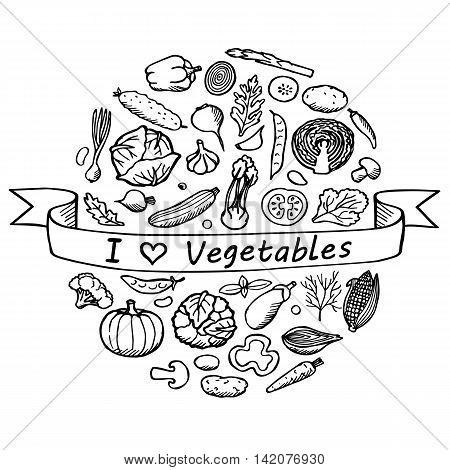 Vegetables hand drawn elements. I love vegetables. Vintage vector illustration of doodle vegetables
