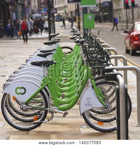 LIVERPOOL, ENGLAND, JULY 2. A Citybike station on July 2, 2016, in Liverpool, England. A Citybike Bicycle Sharing System station in Liverpool England.