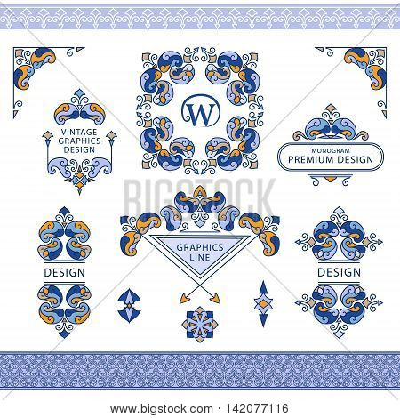 Vector illustration of Set of line art frames and borders for design template. Element in Eastern style. letter W. Color floral frames. Mono line decor for invitations greeting cards certificate. Vector illustration