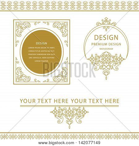 Vector illustration of Set of line art frames and borders for design template. Element in Eastern style. Outline floral frames. Mono line decor for invitations greeting cards certificate. Vector illustration