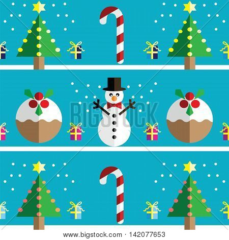 Christmas Seamless pattern with geometrical Snowman with scarf and christmas pudding