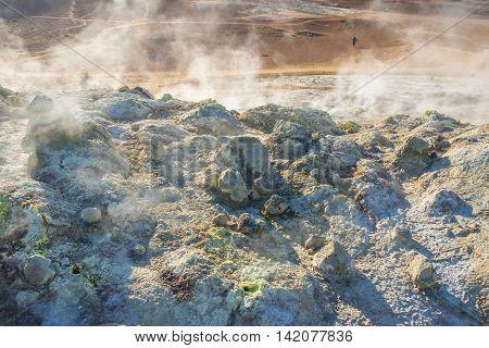 Hot springs - Namafjall Myvatn area Iceland.