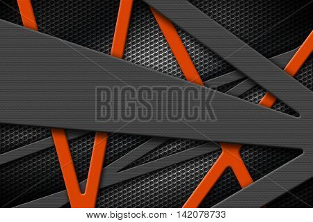 gray and orange metal frame on black grille background. metal background and texture. 3d illustration material design.