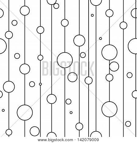 Circle on line seamless pattern. Fashion graphic background design. Modern stylish abstract texture. Monochrome template for prints textiles wrapping wallpaper website etc. VECTOR illustration