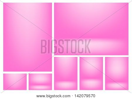 Pink gradients for creative project backgrounds or product presentation. Vector backdrop set