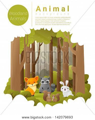 Forest landscape background with woodland animals , vector , illustration