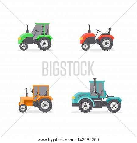 Types of tractors. Vector set of types of tractors. Four icons of different tractor. Agricultural machinery.