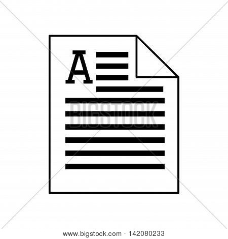 page document file print article word silhouette vector graphic isolated and flat illustration