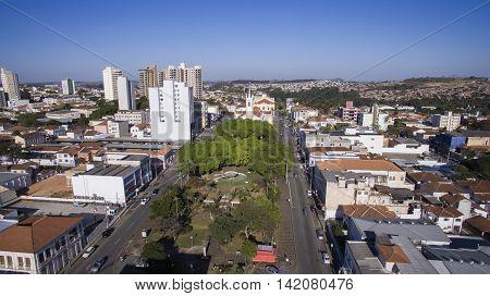 Aerial view of the city of Sao Joao da Boa Vista in Sao Paulo state in Brazil.