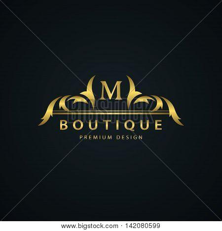 Vector illustration of Luxury Vintage logo. Business sign label Letter emblem M for badge crest Restaurant Royalty Boutique brand Hotel Heraldic Jewelery Fashion Real estate Resort tattoo Auctions