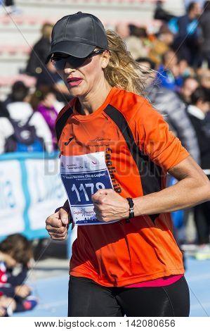 CAGLIARI, ITALY - December 7, 2014: 7 ^ Half Marathon - Memorial Delio Serra - athletes competing during the event