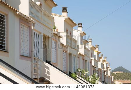 Row of typical spanish residential or holiday apartments