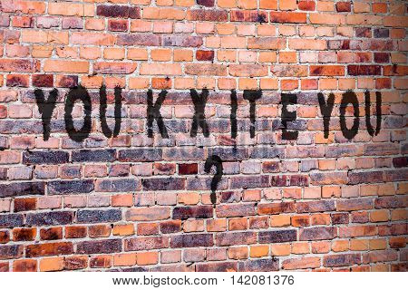 Brexit pun writing on brick wall. United Kingdom, UK, leaving the EU?