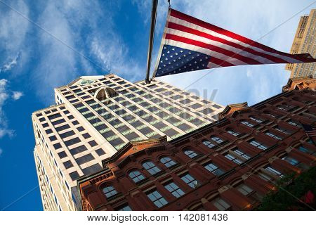 BOSTON,MASSACHUSETTS,USA - JULY 4,2016: Skyward evening view of Boston skyscrapers Massachusetts USA