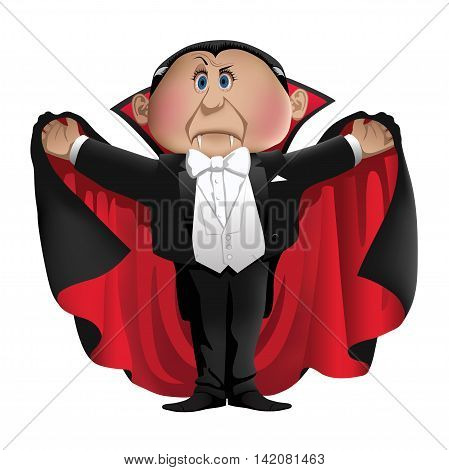 Count Dracula character isolated on a white background -vector illustration,