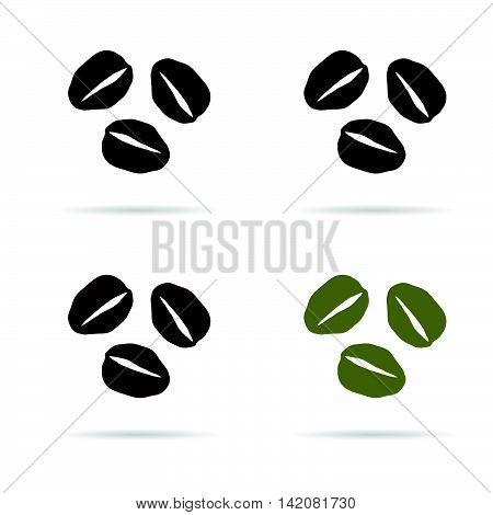 Coffee Beans Icon Illustration In Colorful On White