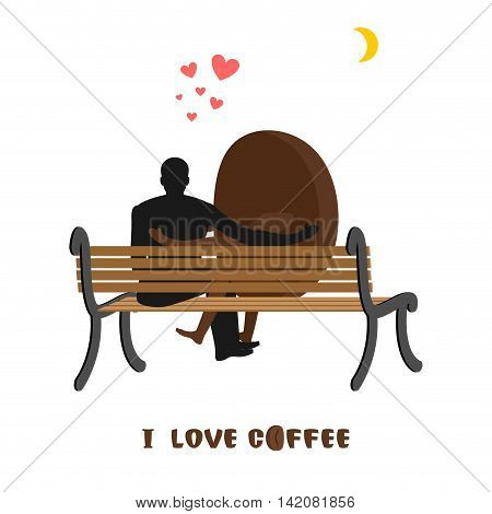 Coffee Lovers. Coffee Beans And Man Looking At Moon. Date Night. Lovers Sit On Bench. Month In Night