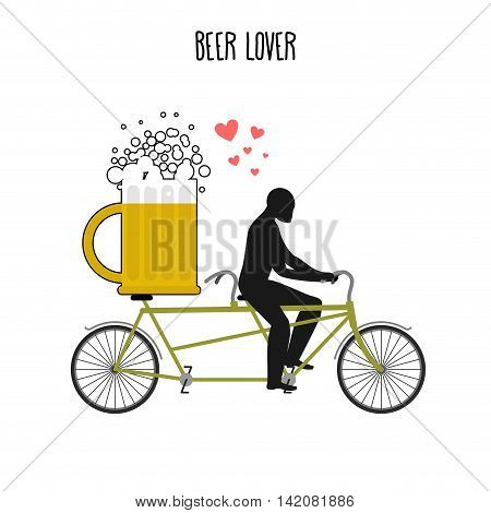 Beer Lover. Beer Mug On Bicycle. Lovers Of Cycling Tandem. Romantic Date. Romantic Illustration Alco