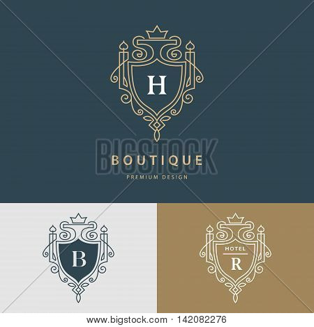 Vector illustration of Line graphics monogram. Royal art logo design. Letter H B R. Graceful template. Business sign identity for Restaurant Royalty Boutique Cafe Hotel Heraldic Jewelry Fashion