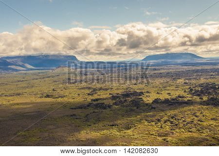 Volcanic landscape. View from hverfjall volcano - Iceland.