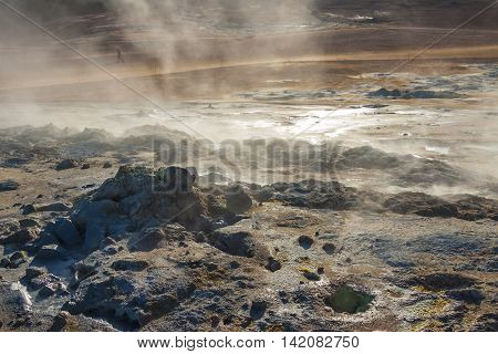 Steaming ground in Hverir - Namafjall Myvatn lake area in north Iceland.