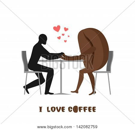 Coffee Lovers. Lover In Cafe. Man And Coffee Beans Sitting At Table. Food In Restaurant. Romantic Da