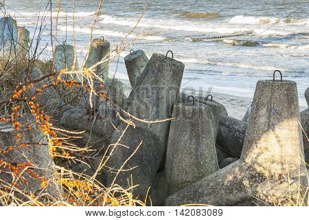 View on old Concrete breakwater - Baltic sea