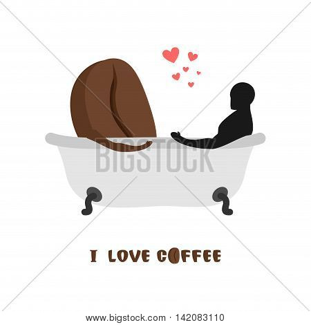 Coffee Lovers. Coffee Beans And  Person In Bath. Joint Bathing. Passion Feelings Among Lovers. Roman
