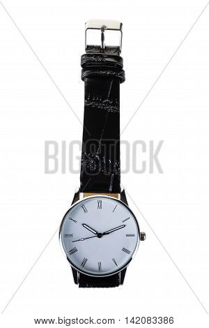 watches belt black classic, on a white background